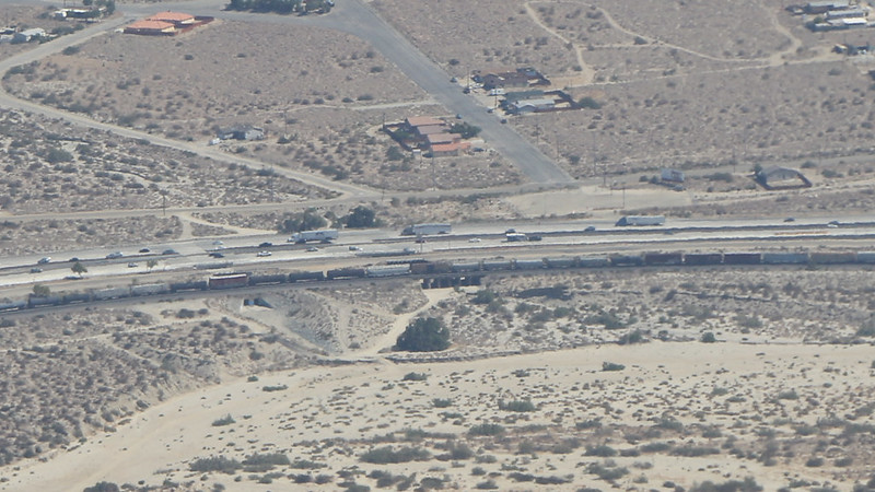Zoomed -in shot of the overpass on I-10 and the railroad where the PCT crosses beneath the freeway