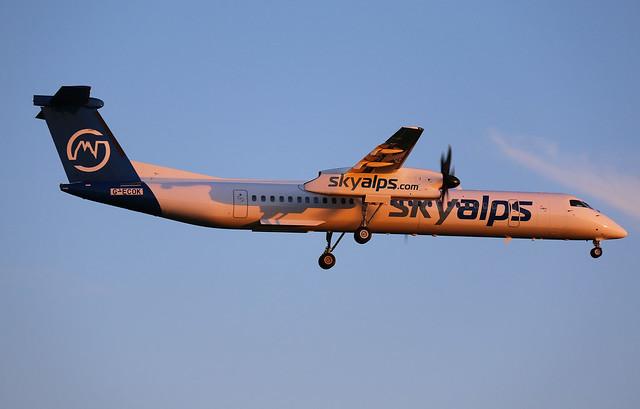 G-ECOK Sky Alps Bombardier DHC-8-402Q Dash 8 at Bristol Lulsgate International Airport Somerset (BRS/EGGD)