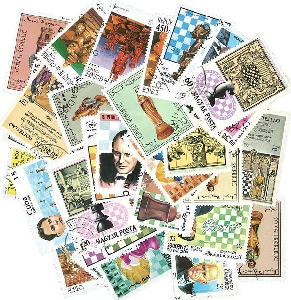 Známky ŠACH 50 ks rôznych
