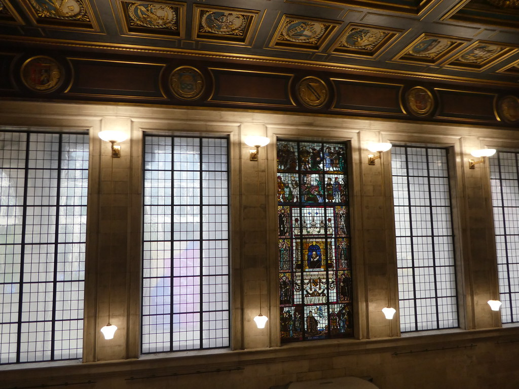 Stained glass window, Manchester Central Library