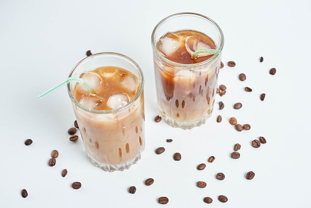Glasses of iced coffee latte