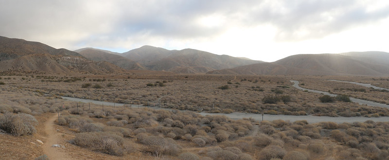 Empty lots and roads from a classic California real estate scheme and the PCT heads right on through