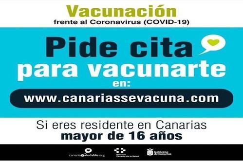 Anuncio de la Consejería de Sanidad del Gobierno de Canarias sobre la vacunación en Canarias