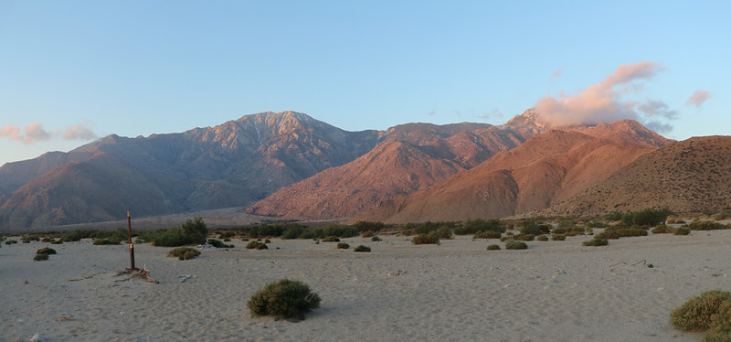 Dawn light on San Jacinto Peak from the San Gorgonio River. It was a very dry river