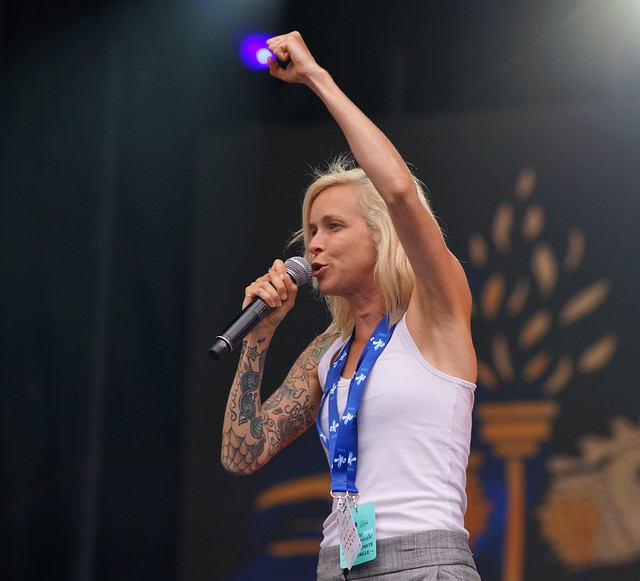 Brigitte Boisjoli, Répétition, Spectacle Saint-Jean, Place des Festivals, Sony A99, Montréal, 23 juin 2018 (2)