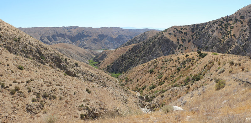 Looking east as I neared the Whitewater Preserve - the Whitewater riverbed is down in that big canyon