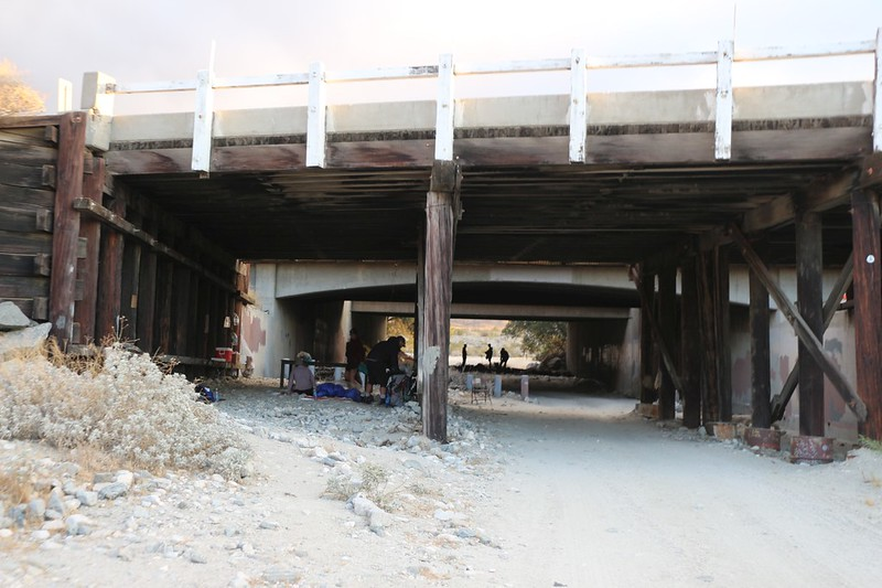 There was Trail Magic and a non-windy place to stay under the overpass on I-10 - I should have stayed here! Too late now