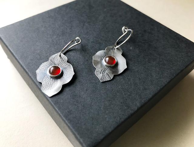 Carnelian Hydrangea Leaf Silver Earrings