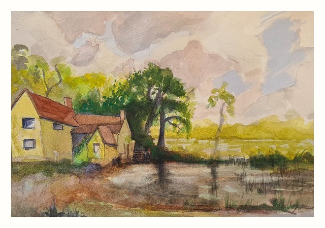 Constable country at Flatford, Suffolk. watercolour from StreetView image.