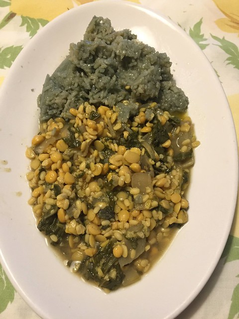 mix dal with green leaves and green rice