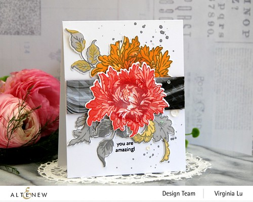 0525-2021-MejesticBouquet Stamp& Die Bundle-Angled Mosaic 3D Embossing Folder-Poured Acrylic Paper Pack