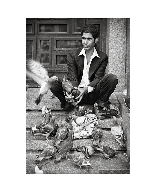 Man with doves