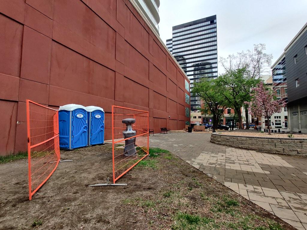Temporary public toilets in Michael Phair Park