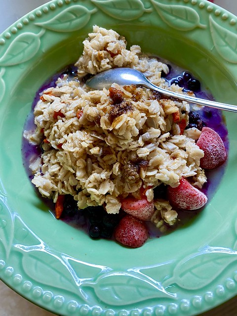 Brunch... oatmeal w seeds, nuts and fruits...