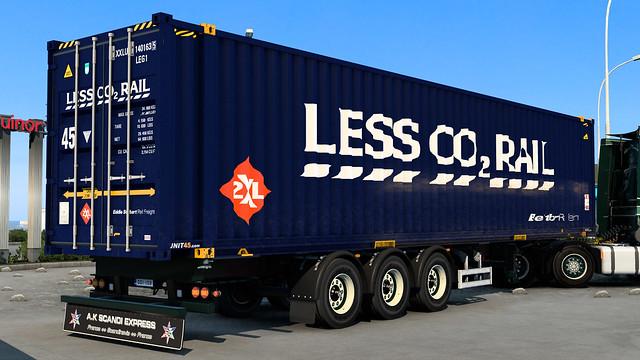 2XL/Eddie Stobart Rail ~ Less CO2 Rail livery - 45ft High Cube PalletWide container