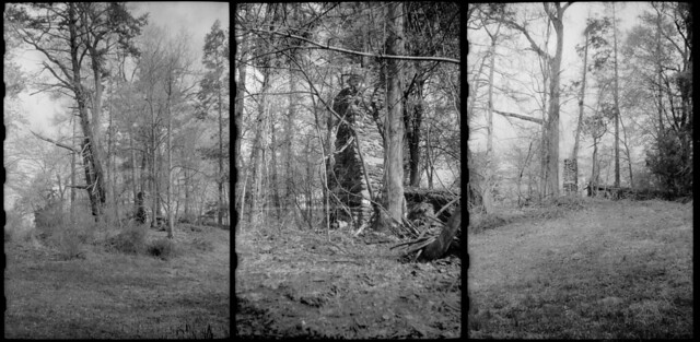 Walking by ruins of a chimney, triptych