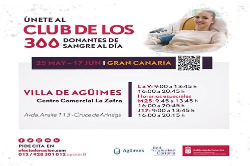 Cartel promocional de punto temporal de donación en el Cruce de Arinaga