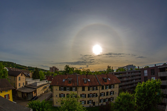Solar halo and clouds