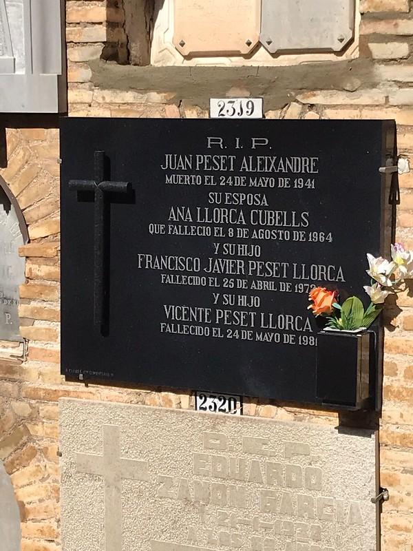 20210524 80 ANIVERSARI AFUSELLAMENT JOAN PESET I ALEIXANDRE 24 DE MAIG DE 2021 12 hores Cementeri General Municipal de València