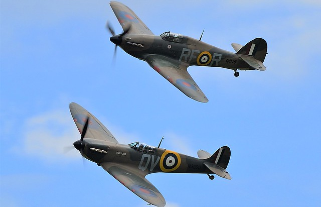 RAF Hawker Hurricane G-HURI  R4175  RF-R & Royal Air Force Supermarine Spitfire Mk1 N3200 G-CFGJ QV