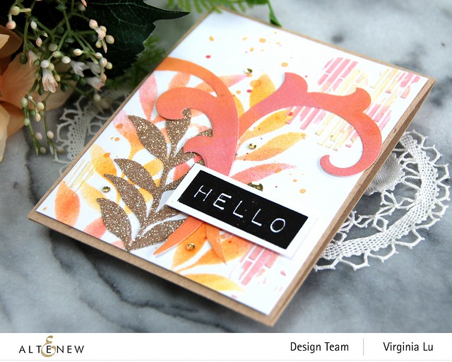 Altenew-Narrow Brick Stencil-Decorative Swirl Die Set-Mega Label Die-Embossing Paste-002