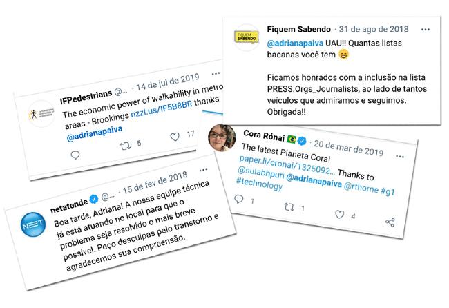 Twitter da jornalista Adriana Paiva Net Claro Cora Rónai imprensa veículos jornalísticos engenharia PUC engenheiro software IFPedestrians