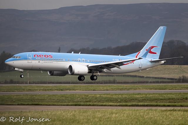 EI-RZB Boeing 737-MAX8 Neos Glasgow Airport EGPF 31.03-21