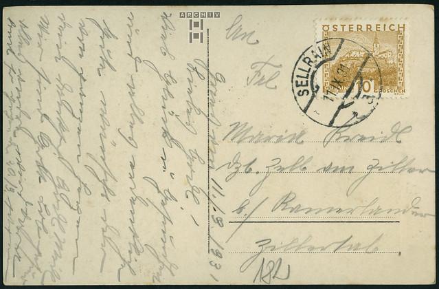 ArchivTappen2AA927 Namenstagskarte (back), Österreich, Sellrain, 11. September 1931