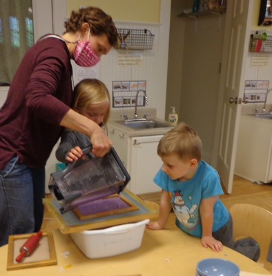 pouring purple paper