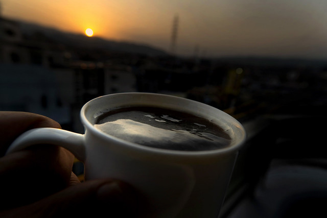 Instant coffee and sunset