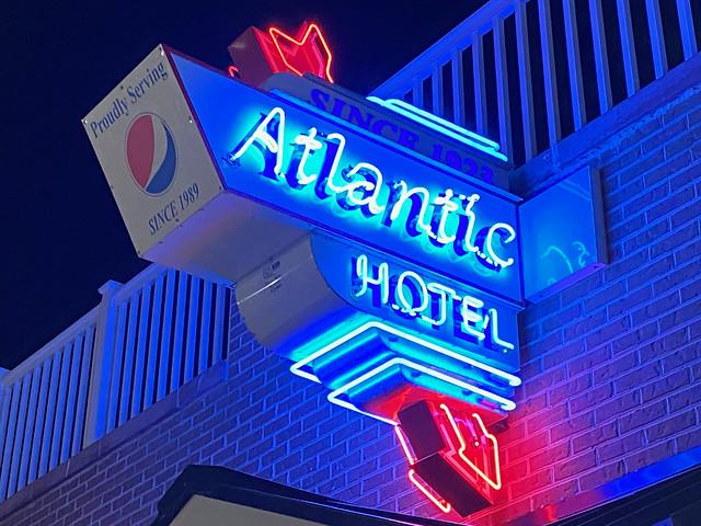 Atlantic Hotel neon sign
