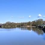 Blue sky and water at the River Ribble at Preston