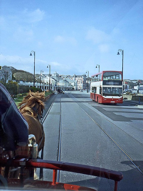 Riding a horse tram on Douglas Promenade