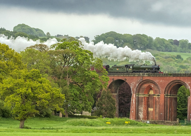 Alberta 45562 emerges from the trees onto Whalley arches on the return leg of the Pendle Dalesman