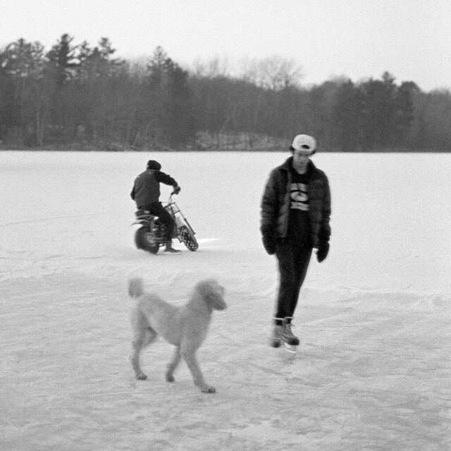 dirtbike and skater with poodle
