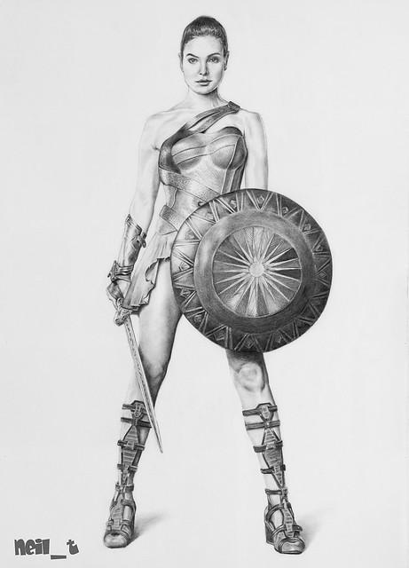 Diana Prince a.k.a. Wonder Woman in Amazonian gear