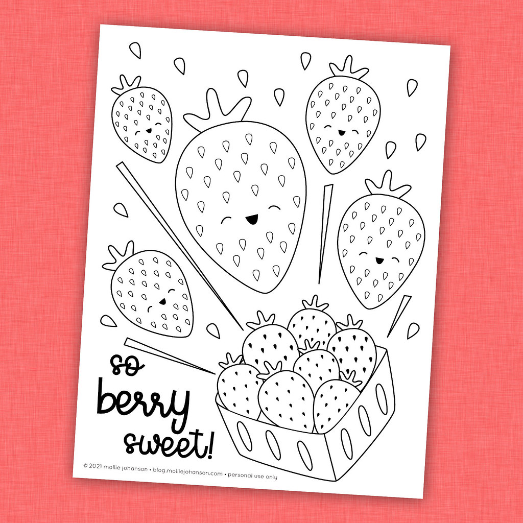 You're Berry Sweet Strawberry Coloring Picture