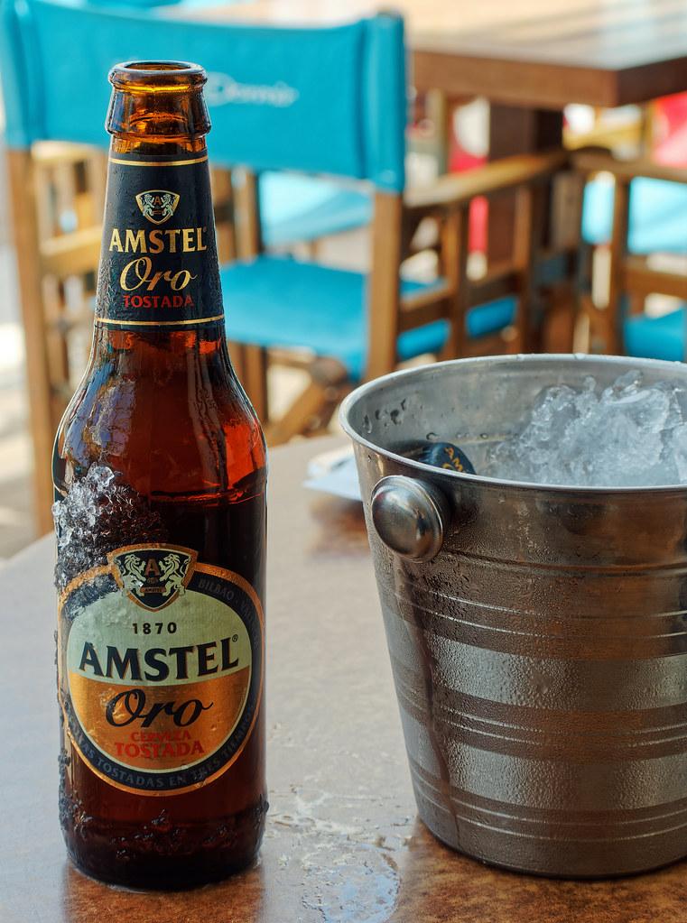 Bottle of Amstel Oro (Dark Imperial Pilsner Lager) Olympus OM-D EM1.2 & Lumix 35-100mm f2.8 Zoom
