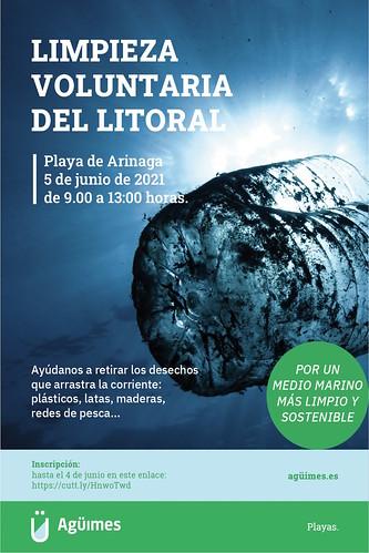Cartel de la Jornada de Limpieza Voluntaria del Litoral en Arinaga