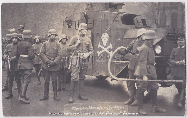 FLAME THROWER AND ARMORED CAR IN BERLIN (1919)