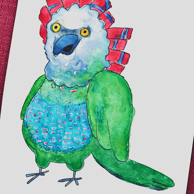 Hawk Headed parrot Watercolor