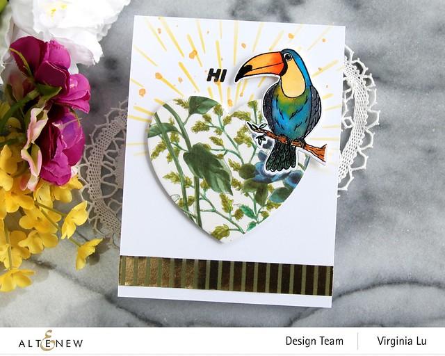 Altenew-Tropical Toucan Stamp & Die Bundle-Warp Speed Stencil-Halftone Hearts Nesting Die-Wild Flora Wide Washi Tape -Elegant Foil Stripe Washi Tape -003