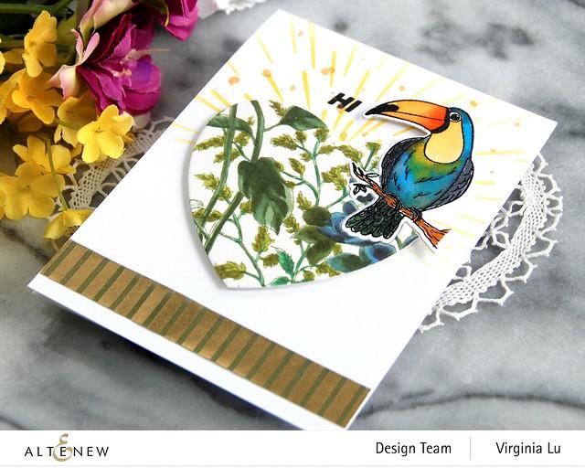 Altenew-Tropical Toucan Stamp & Die Bundle-Warp Speed Stencil-Halftone Hearts Nesting Die-Wild Flora Wide Washi Tape -Elegant Foil Stripe Washi Tape -002