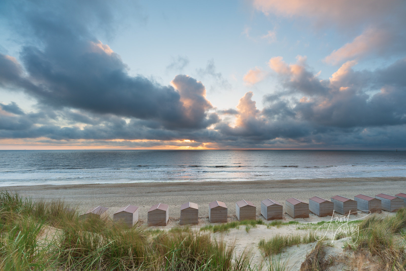 Sunset with clouds on Texel Island