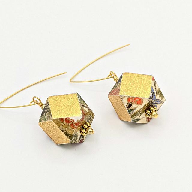 Paper and Wood Geometric Earrings