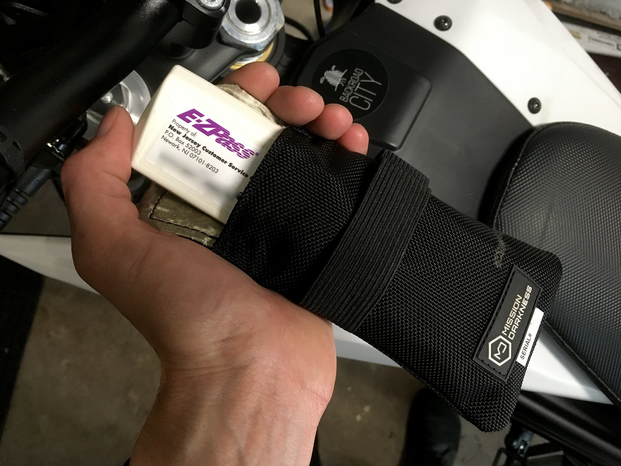 EZ-Pass in a Mission Darkness faraday bag