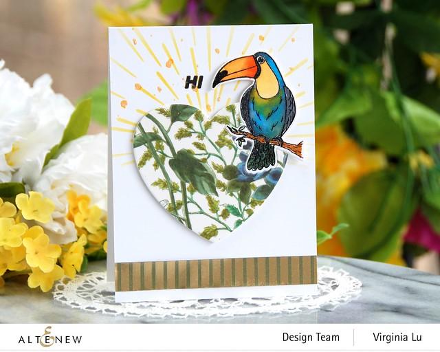 Altenew-Tropical Toucan Stamp & Die Bundle-Warp Speed Stencil-Halftone Hearts Nesting Die-Wild Flora Wide Washi Tape -Elegant Foil Stripe Washi Tape -001