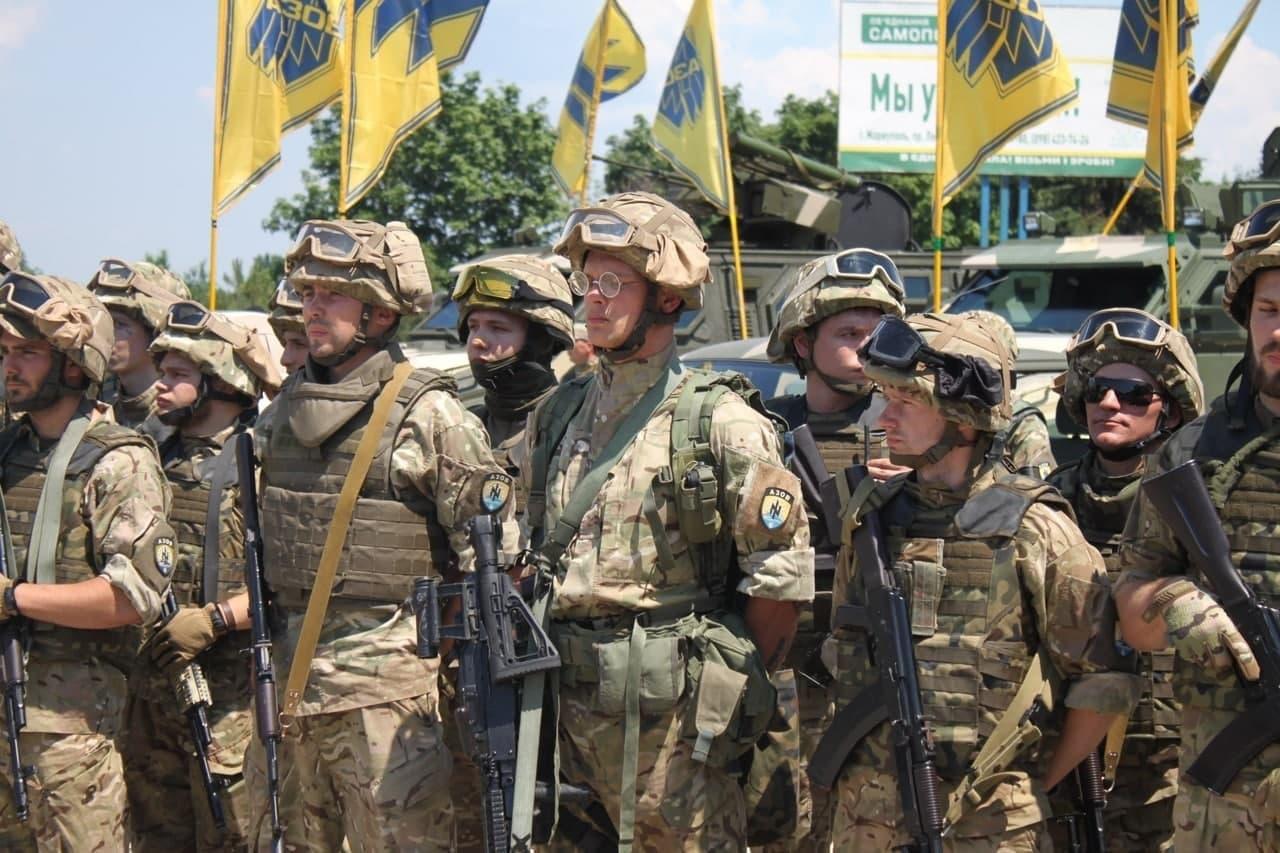 Roman Protasevich during a parade of neo-nazi battalion Azov in Mariupol