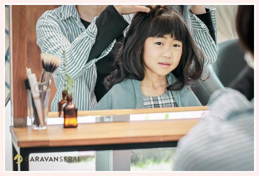 七五三のお支度 美容院でヘアスタイリング