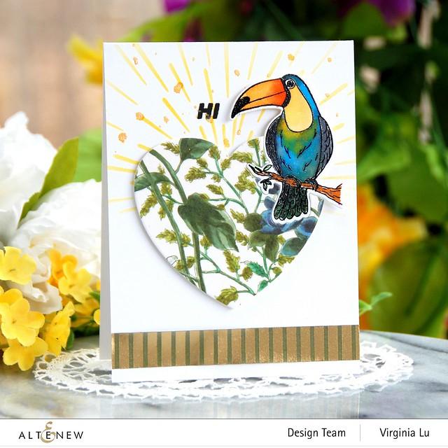 Altenew-Tropical Toucan Stamp & Die Bundle-Warp Speed Stencil-Halftone Hearts Nesting Die-Wild Flora Wide Washi Tape -Elegant Foil Stripe Washi Tape